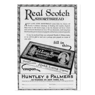 Huntly and Palmers auld lang syne shortbread Postcard