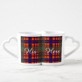 Huntly clan Plaid Scottish tartan Lovers Mug Set