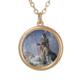 Huntress and Wolf Gold Plated Necklace