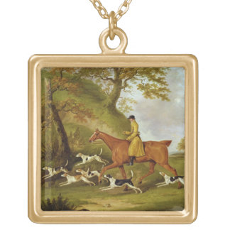 Huntsman and Hounds, 1809 (oil on canvas) Square Pendant Necklace