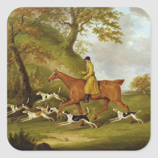 Huntsman and Hounds, 1809 (oil on canvas) Square Sticker
