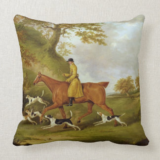 Huntsman and Hounds, 1809 (oil on canvas) Throw Cushions
