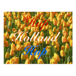 Hup Holland Hup Red White Blue Orange Tulips Postcard