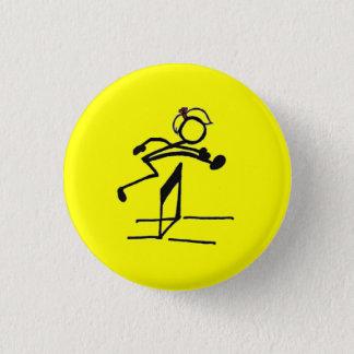 Hurdle stick girl 3 cm round badge
