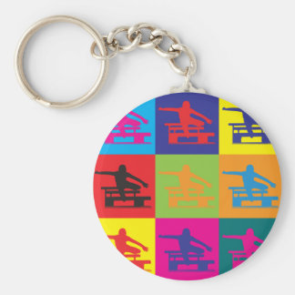 Hurdling Pop Art Key Ring