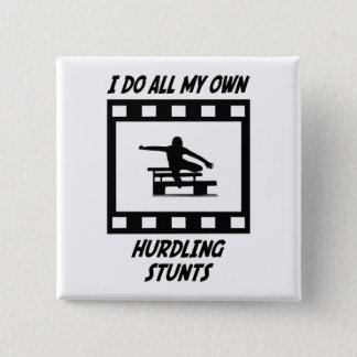 Hurdling Stunts 15 Cm Square Badge