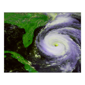 Hurrican Fran Off Florida - 1996 Satellite Image Poster