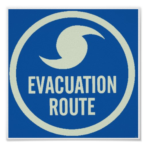 Hurricane Evacuation Route Poster