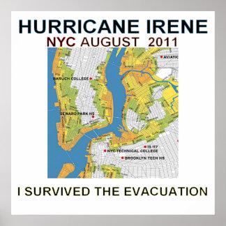 Hurricane Irene New York City Evacuation Map Poste Poster