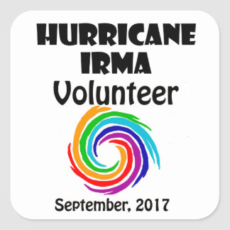 Hurricane Irma Volunteer 2017 Artwork Square Sticker