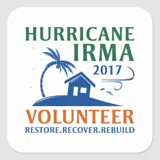 Hurricane Irma Volunteer Square Sticker