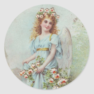 Hurricane Sandy -Victorian Christmas Blue Angel Classic Round Sticker