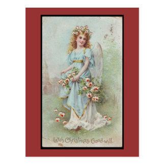 Hurricane Sandy -Victorian Christmas Blue Angel Postcard