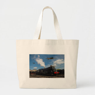 Hurricanes and steam train large tote bag