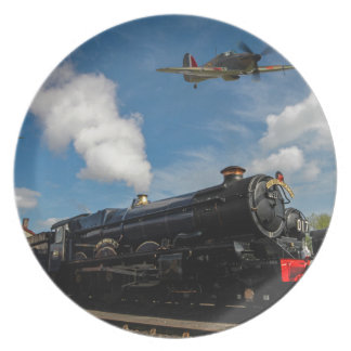Hurricanes and steam train party plates