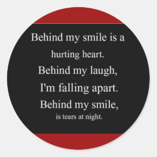 Hurting Heart sadness depression alone emo relatio Round Stickers