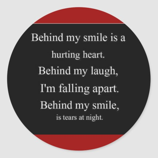 Hurting Heart sadness depression alone emo relatio Round Stickers