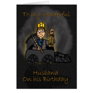 Husband Birthday Card - Coal Miner Cartoon
