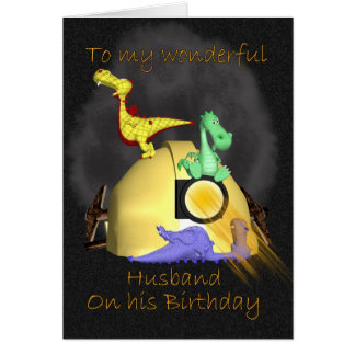 Husband Birthday Card - Coal Miner Dragons