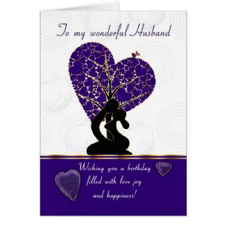 husband birthday card modern design, purple and wh