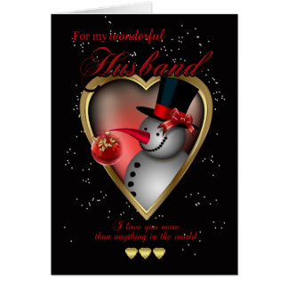 Husband Christmas Card - Snowman In Heart