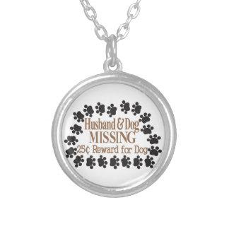 Husband & Dog Missing Round Pendant Necklace