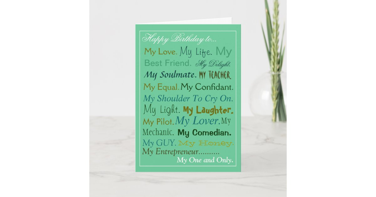 Husband-Fiance-Boyfriend Birthday Card lover card   Zazzle com au