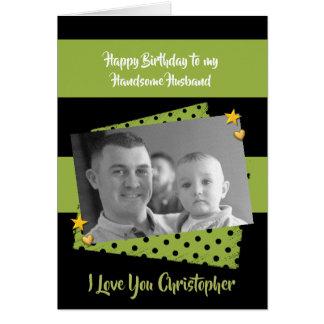 Husband personalized name Birthday photo Card
