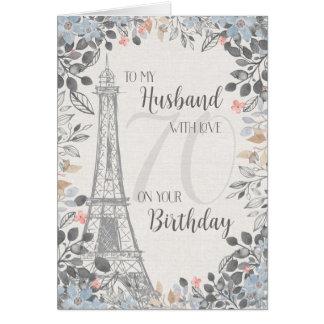 Husband Romantic 70th Birthday Eiffel Tower Card