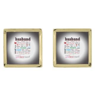 Husband Soulmate Partner Word Cloud Gold Finish Cuff Links