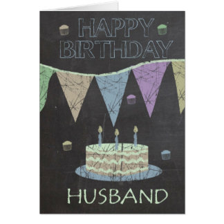 Husband Trendy Chalk Board Effect, Birthday Cake Card