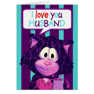 Husband Valentine Card With Cute Cat