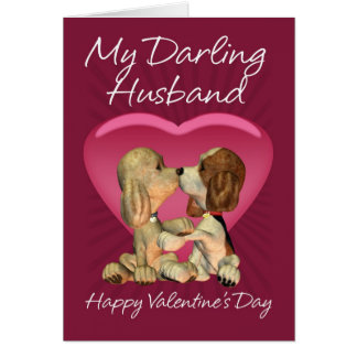 Husband Valentine's Day Card With Two Kissing Pupp