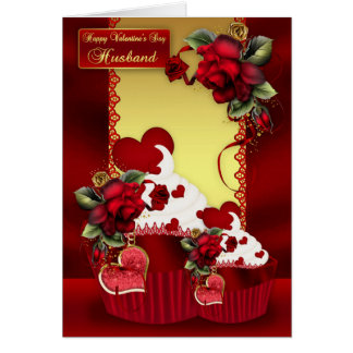 Husband Valentine's Day Cupcake And Rose Greeting Card