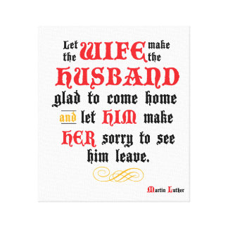 Husband & Wife Quote Stretched Canvas Canvas Print