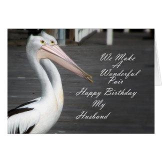 Husbands Birthday Pelicans Greeting Card