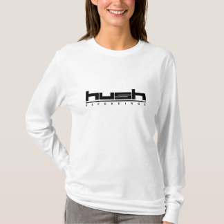 Hush Black Logo on Women's White Hoodie
