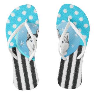 Huskies blue pattern thongs
