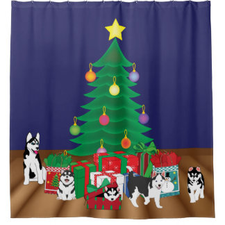 Huskies Playing Under the Tree Shower Curtain