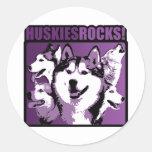 Huskies Rock! Round Sticker