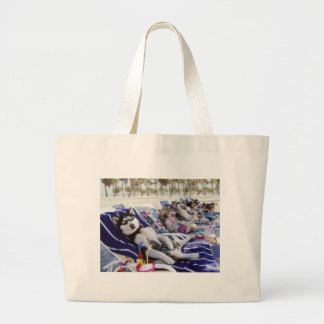 huskies sunbath large tote bag