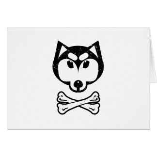 Husky and bones greeting card