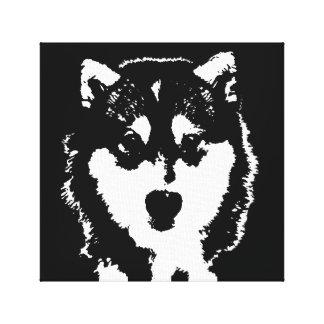 Husky Black & White Wrapped Canvas Print Wall Art