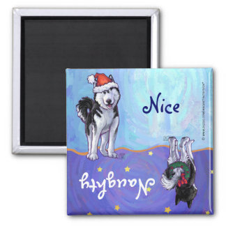 Husky Christmas Square Magnet