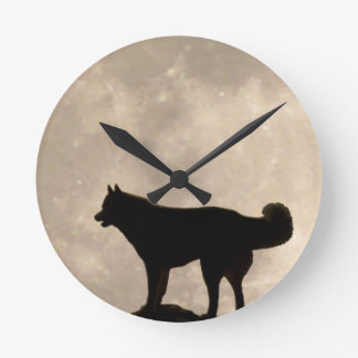 Husky Clock Gifts Decor Full Moon Wall Clock