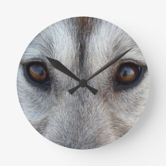 Husky Clock Gifts Decor Wolf Dog Wall Clock