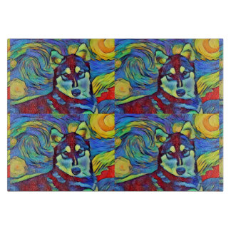 Husky Colorful Astral Glass Cutting Board Tiled