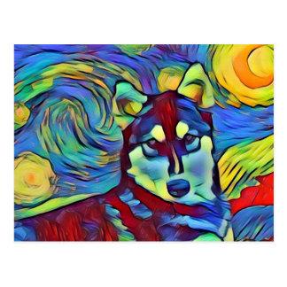 Husky Colorful Astral Postcard