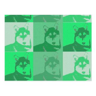 Husky Green Pop Art Postcard