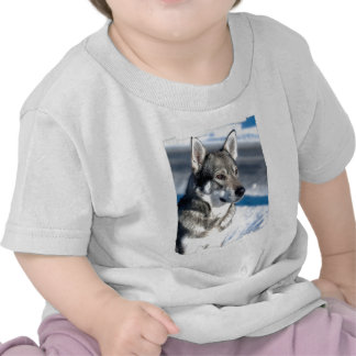 Husky in Snow Baby T-Shirt